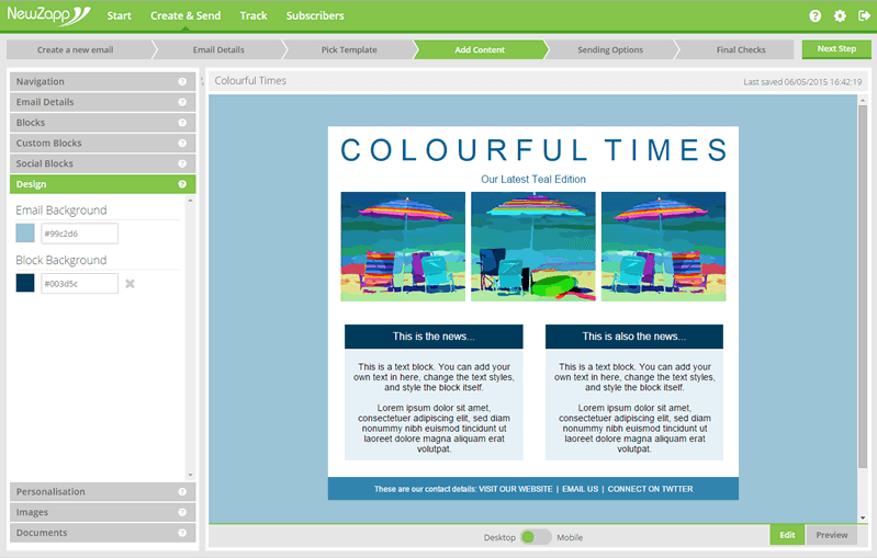 Apply lighter and darker shades of your core brand colour to your email