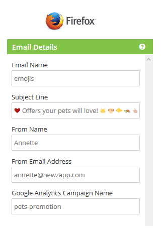 NewZapp Email Details pane in Firefox