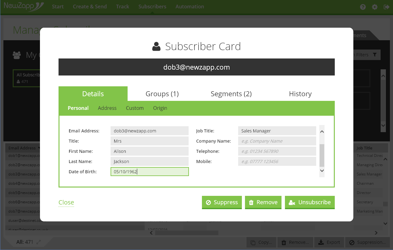 Inclusion of the data on every Subscriber Card's personal details
