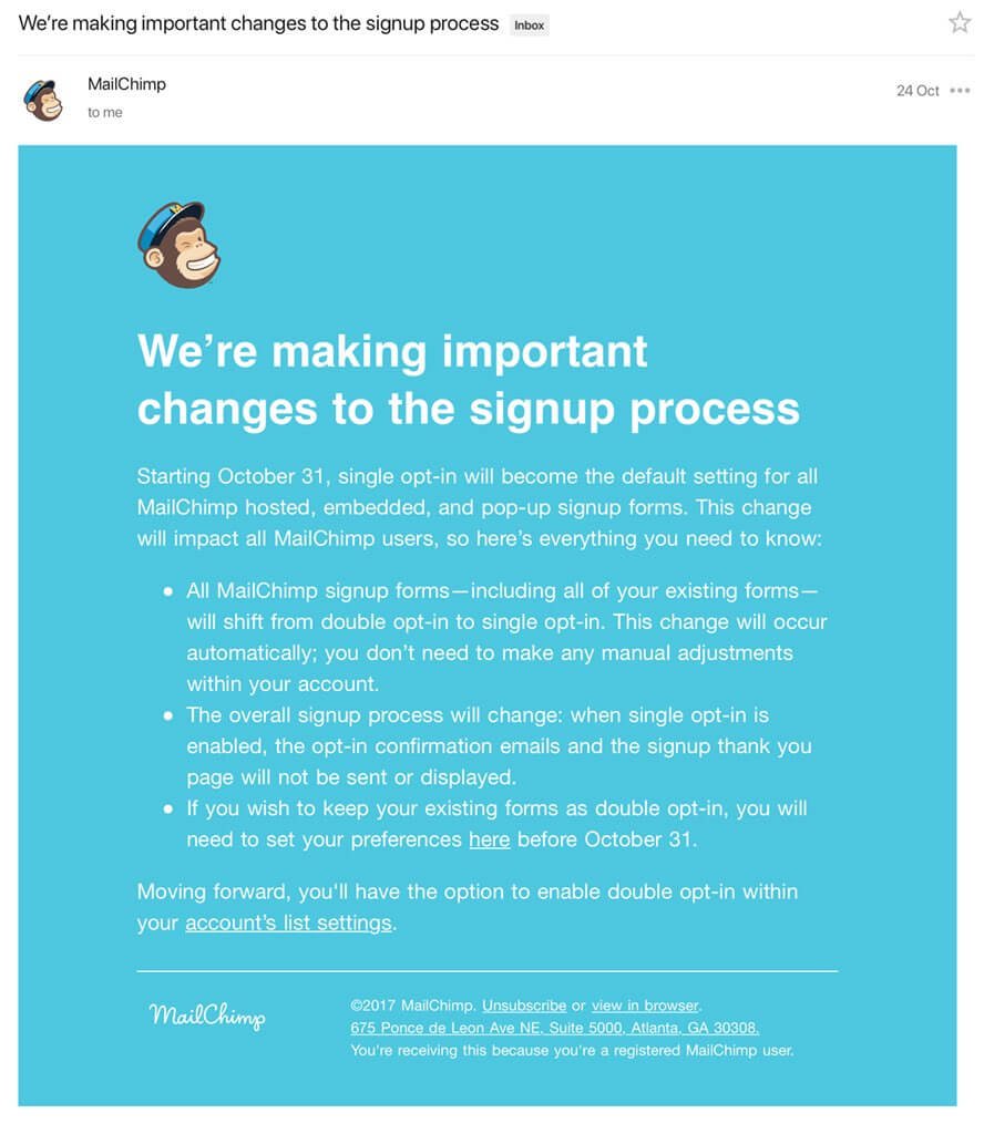 MailChimp Single Opt in