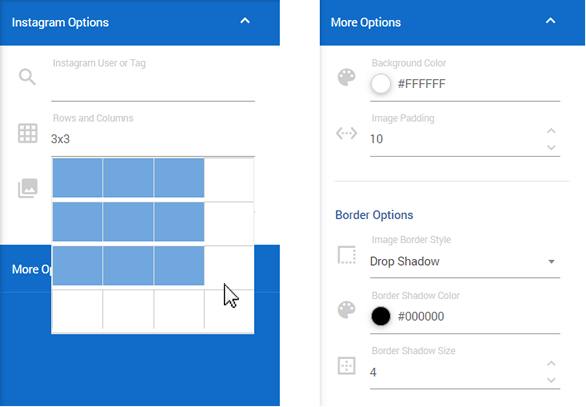 Choose options with grid, thumbnail, background colour and border settings