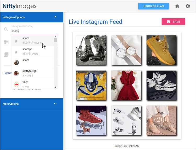 Design: Inserting a live feed from an Instagram or Pinterest
